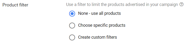 TrueView for shopping - Product filter picker